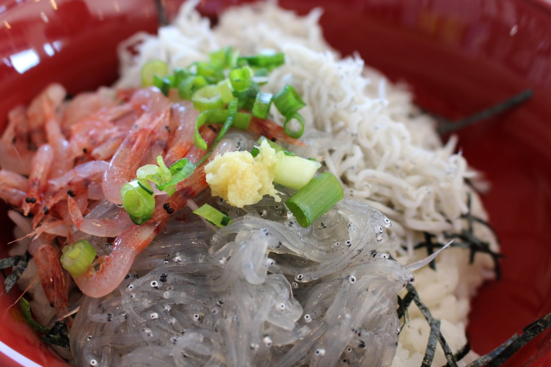 Rice bowl with 3 toppings: Sakura shrimp, boiled shirasu and raw shirasu