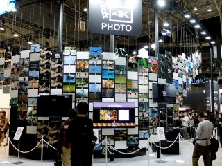 Panasonic had a huge display of printed photos as well as small TV screens to showcase the details in their new 4K technology cameras.