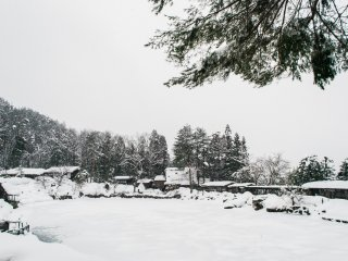Hida Folk Village deep under the beautiful snow.