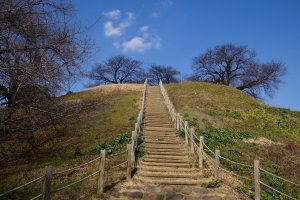 Staircase of Maruhakayama Kofun (Japan's largest spherical kofun), leading to panorama views