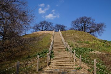 <p>Staircase of Maruhakayama&nbsp;Kofun (Japan&#39;s largest spherical kofun), leading to panorama views</p>