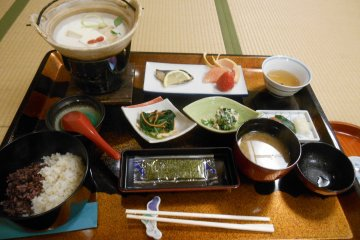 <p>The various dishes in the Japanese breakfast</p>