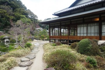 <p>A glimpse past the Shoin (main residence) of the garden</p>