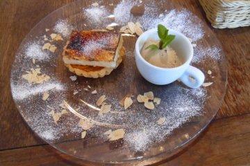 <p>Kumquat tart with camomile ice-cream</p>
