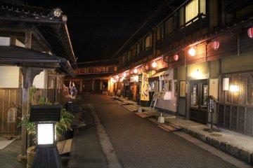<p>Night time street view in&nbsp;Kagura-Monzen-Toji-Mura Village</p>