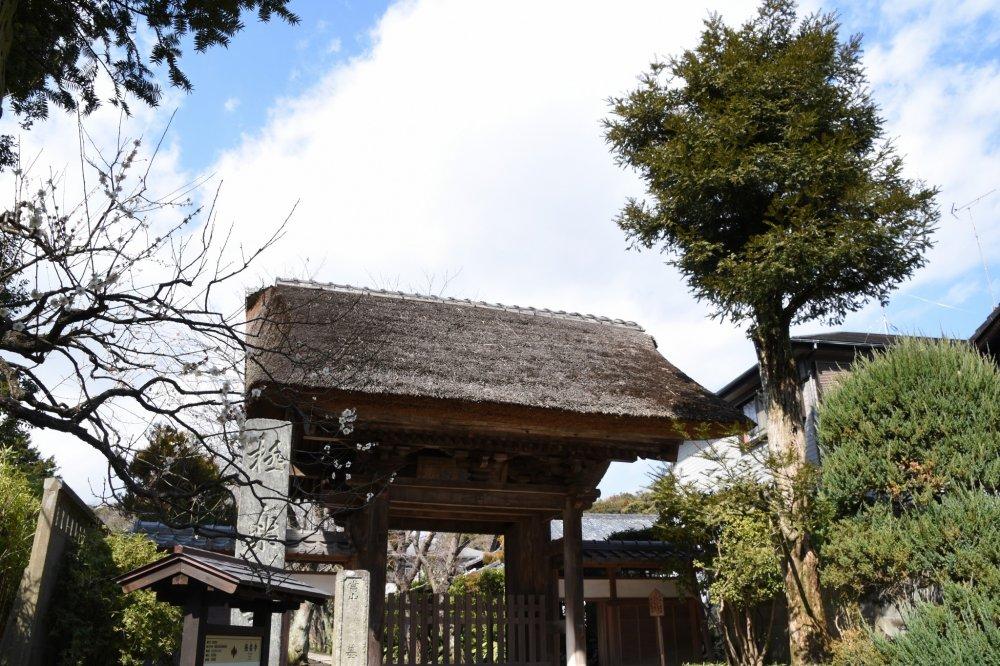 희귀한 초가 지붕의 고쿠라쿠지 사찰의 작은 문