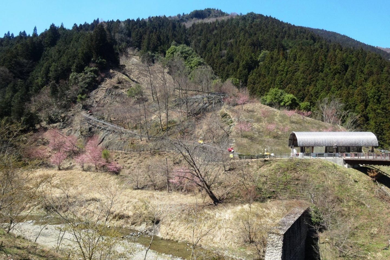 A view of the mini monorail course at Iya Fureai Park