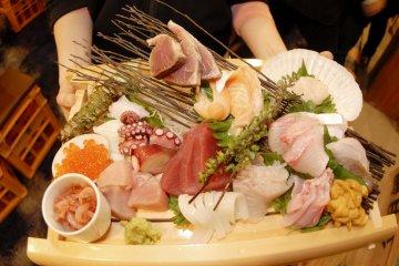 Seafood platter at Uomaru
