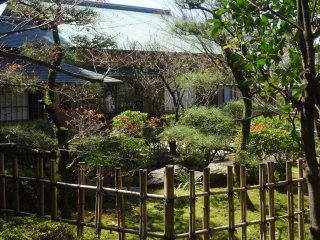 A teahouse sits in the back of the property