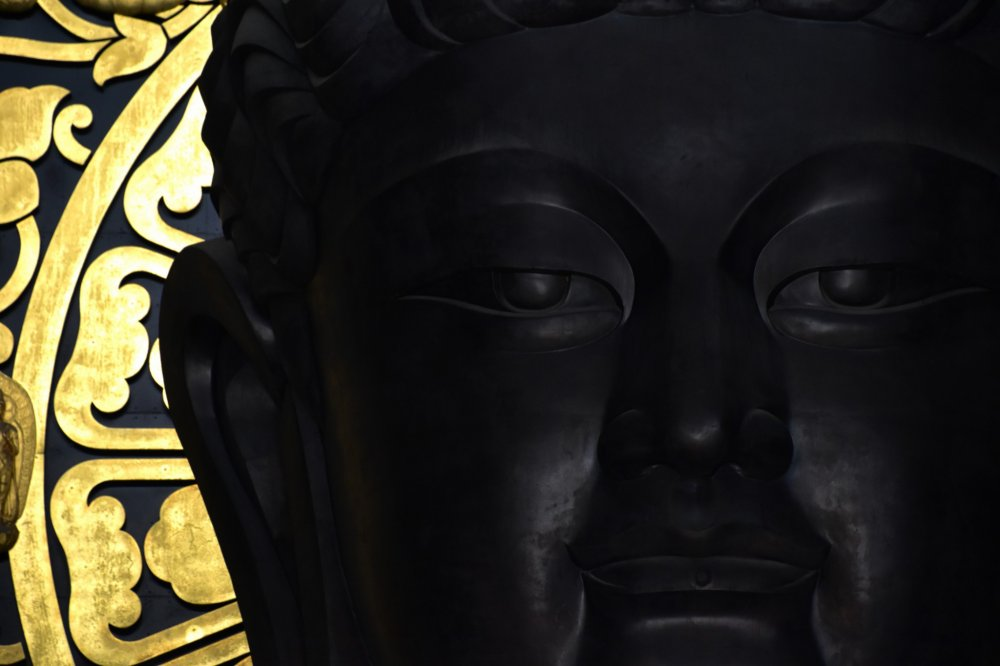 Close-up look at a huge Echizen Daibutsu (Buddha statue). What a serene face!