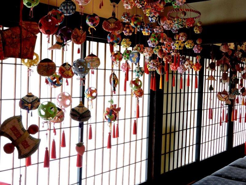 <p>Colorful Hinamatsuri mobiles</p>