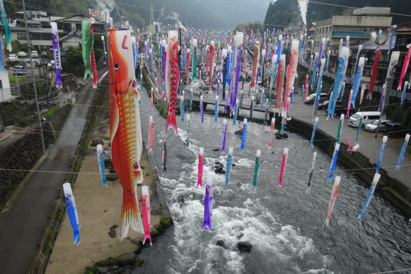 Carp streamers above the river in Tsuetate Onsen