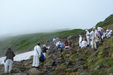 Group of pilgrims on Mount Gassan