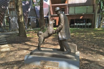 <p>The newly erected Hachiko statue at the University of Tokyo</p>
