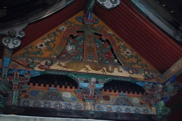 Detail work on the roof of the main building