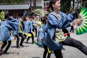 Dancers performing the Sparrow Dance, a traditional dance of nearby Sendai City