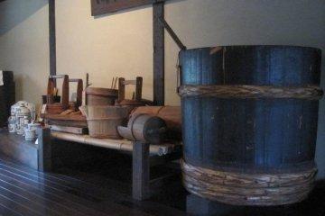 Sake vats displayed in the Shuyukan - the sake store and musem.
