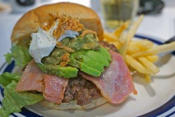 <p>The Avocado Burger (with Canadian Bacon)</p>