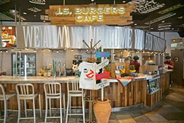 <p>Eat In or Take Out at J.S. Burgers Cafe</p>