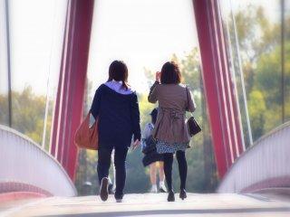 희망의 다리? 밝은 햇빛에 아이리스 다리를 건너는 보행자들