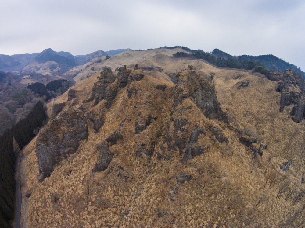 The Mt. Rakan crags and Mt. Takagi from above