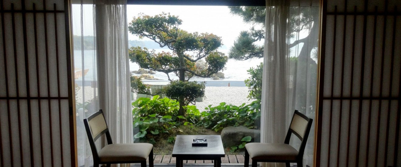 The view of the sea from one of the guest rooms at Hagi Komachi