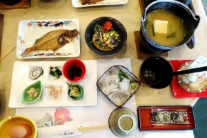 A typical breakfast at Hagi Komachi