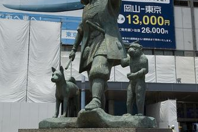 Momotaro statue outside Okayama station