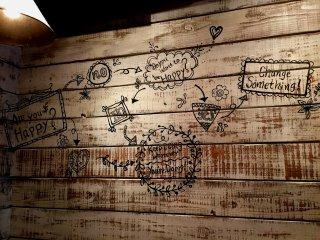 На стене креативно нарисован алгоритм счастья