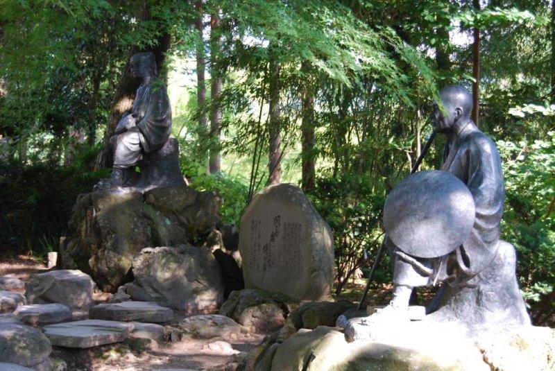 Basho and his disciple and travel companion at Yamadera