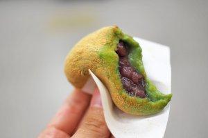 Sweet read bean paste stuffed inside the chewy mochi