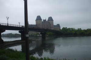As you step off the train, you can immediately see the bridge and what looks like a castle.