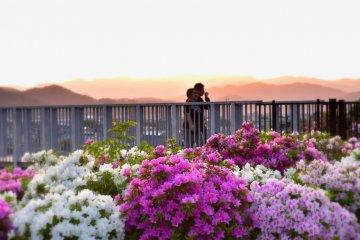 해질 녘에 니시야마 공원 내 보행자 다리 위를 걷는 커플