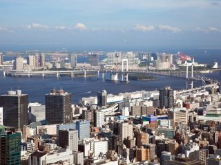 Looking out towards Tokyo Bay from the second observation deck