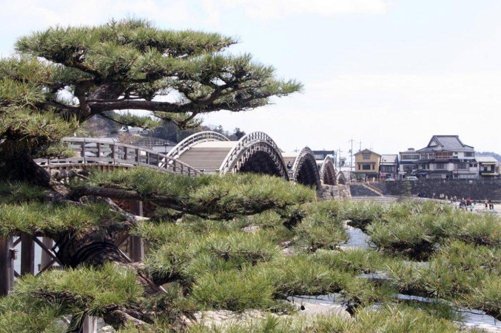 橋には独特な形の5つのアーチがあり、西日本の象徴となっている