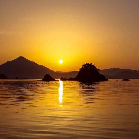 若狭富士に沈む夕陽