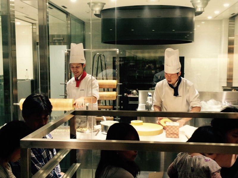 Watch the chefs make Baumkuchenfirst hand.
