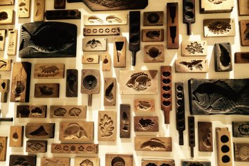 A display of the wooden Wagashi moulds.