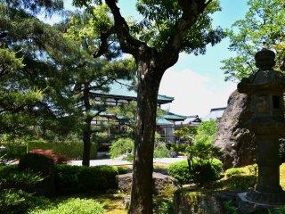 日本庭園越しに眺める聖玄寺本堂