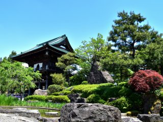Japanese garden of Shougenji Temple under the blue sky of May