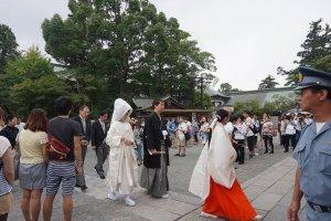 츠루가오카 하치만구 신사에서 열린 전통결혼식입니다.