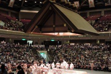<p>Inside Ryogoku Kokugikan sumo stadium</p>