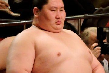 <p>Sumo wrestler Ichinojo watches the ring</p>
