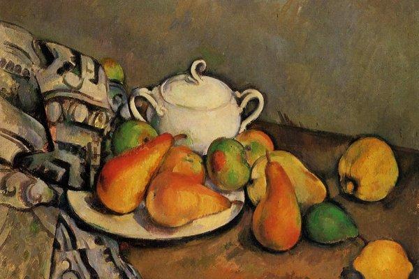 "Paul Cézanne, ""Sugar Bowl, Pears, and Tablecloth"", 1893-1894"