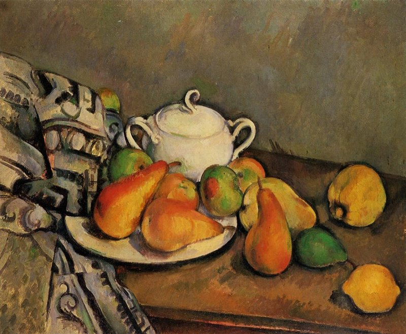 <p>Paul C&eacute;zanne, &quot;Sugar Bowl, Pears, and Tablecloth&quot;, 1893-1894</p>