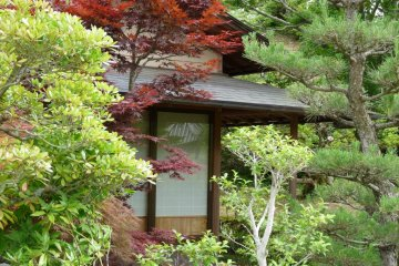 small Japanese building in the park