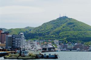 Khu vực cảng trung tâm với núi Hakodate nhìn vào thành phố