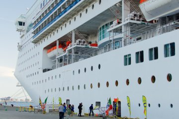 <p>Costa Victoria &#39;around Japan&#39; cruise moored at Akita port</p>