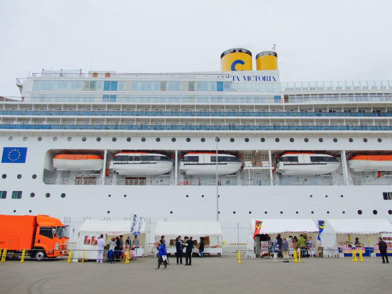 <p>Local produce market stalls for the cruise passengers</p>