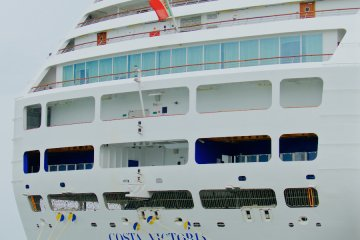 <p>Costa Victoria and its swanky rear balcony cabins</p>